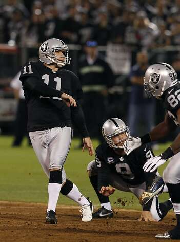 Sebastian Janikowski watches his 51-yard field goal sail through the uprights in the first quarter of the Oakland Raiders game against the San Diego Chargers in Oakland, Calif. on Monday, Sept. 10, 2012. Photo: Paul Chinn, The Chronicle