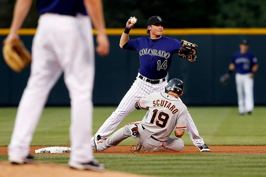 Marco Scutaro is unable to break up this double play as shortstop Josh Rutledge makes the throw. Photo: Doug Pensinger, Getty Images