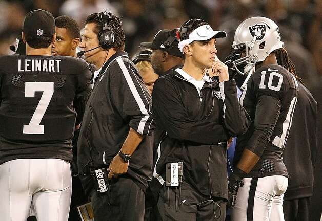 Oakland Raiders head coach Dennis Allen, center right, and offensive coordinator Greg Knapp, center left, against the San Diego Chargers during the first half of an NFL football game in Oakland, Calif., Monday, Sept. 10, 2012. (AP Photo/Tony Avelar) Photo: Tony Avelar, Associated Press