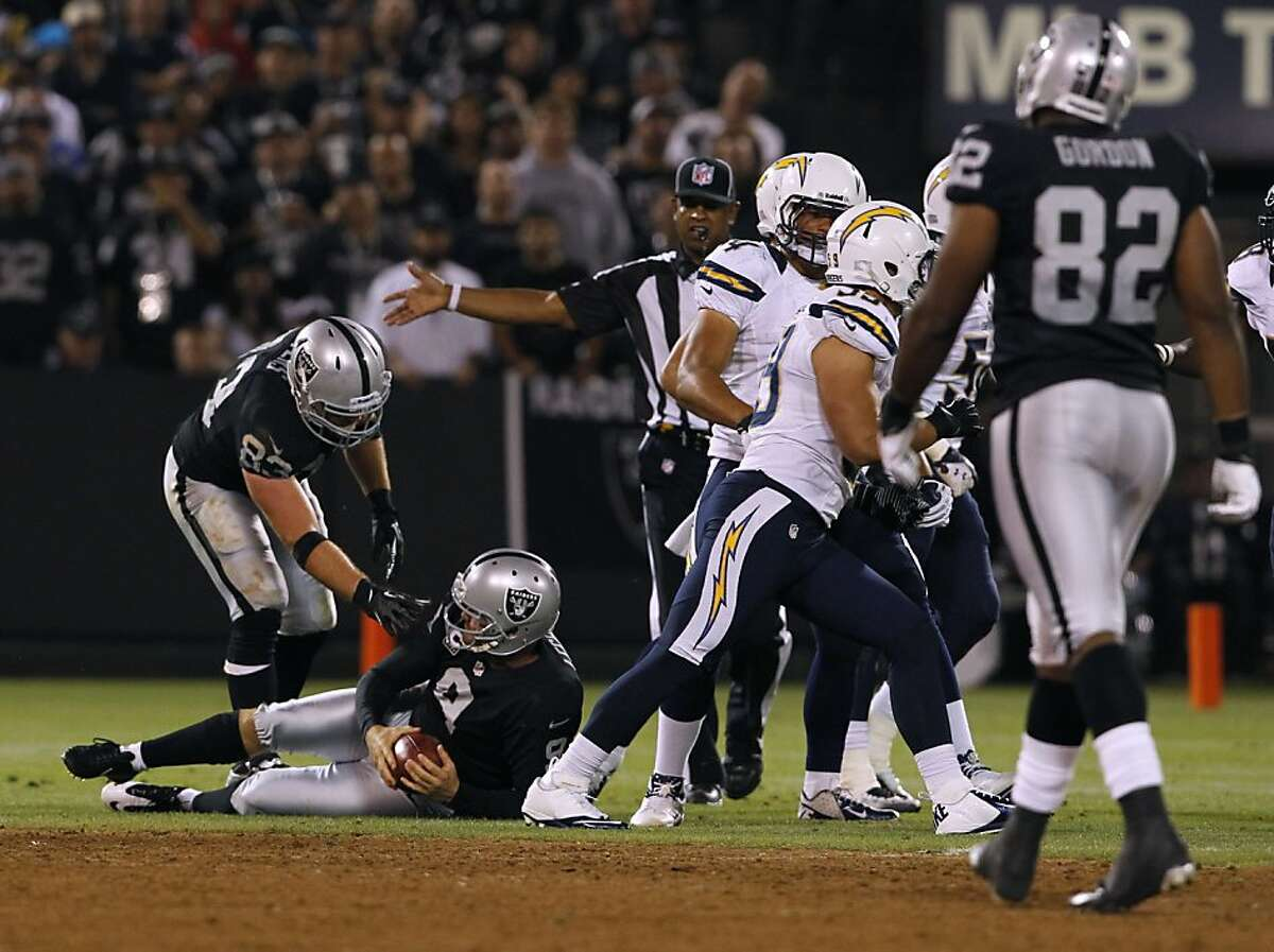 Punter Shane Lechler is helped up after a botched punt in the third quarter of the Oakland Raiders game against the San Diego Chargers in Oakland, Calif. on Monday, Sept. 10, 2012.