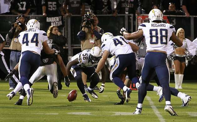 Chargers defenders pounce on the loose ball after blocking Shane Lechler's punt in the third quarter of the Oakland Raiders game against the San Diego Chargers in Oakland, Calif. on Monday, Sept. 10, 2012. Photo: Paul Chinn, The Chronicle