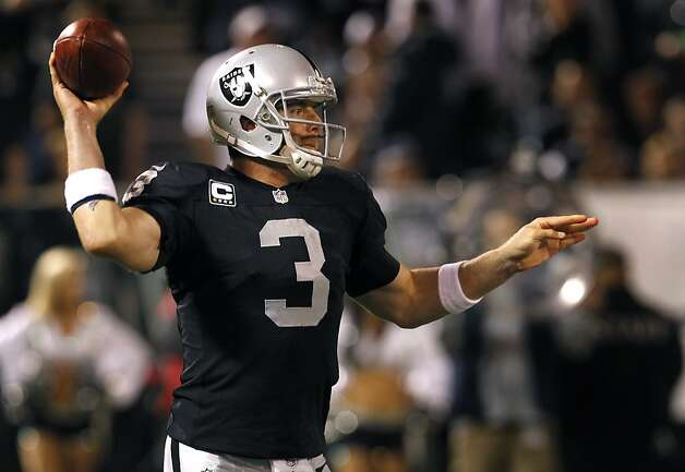 Carson Palmer looks downfield in the third quarter of the Oakland Raiders game against the San Diego Chargers in Oakland, Calif. on Monday, Sept. 10, 2012. Photo: Paul Chinn, The Chronicle