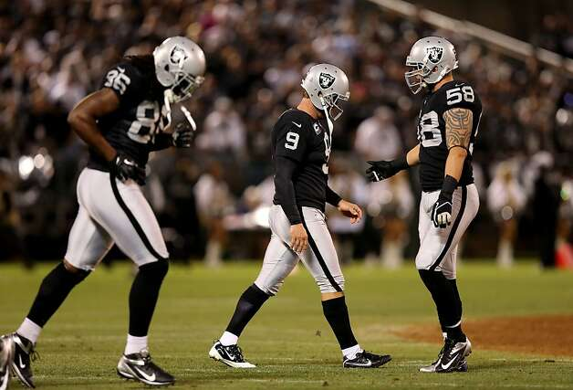 OAKLAND, CA - SEPTEMBER 10: Shane Lechler #9 of the Oakland Raiders walks off the field after having a punt attempt blocked by Dante Rosario #88 of the San Diego Chargers during their season opener at Oakland-Alameda County Coliseum on September 10, 2012 in Oakland, California.  (Photo by Ezra Shaw/Getty Images) Photo: Ezra Shaw, Getty Images