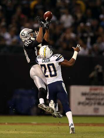 OAKLAND, CA - SEPTEMBER 10: Antoine Cason #20 of the San Diego Chargers breaks up a pass intended for Rod Streater #80 of the Oakland Raiders during their season opener at Oakland-Alameda County Coliseum on September 10, 2012 in Oakland, California.  (Photo by Ezra Shaw/Getty Images) Photo: Ezra Shaw, Getty Images