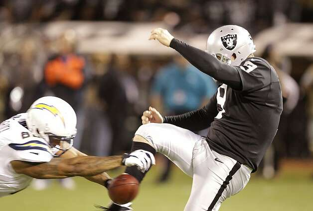 San Diego Chargers tight end Dante Rosario (88) blocks a punt from Oakland Raiders punter Shane Lechler (9) during the second half of an NFL football game in Oakland, Calif., Monday, Sept. 10, 2012. (AP Photo/Ben Margot) Photo: Ben Margot, Associated Press
