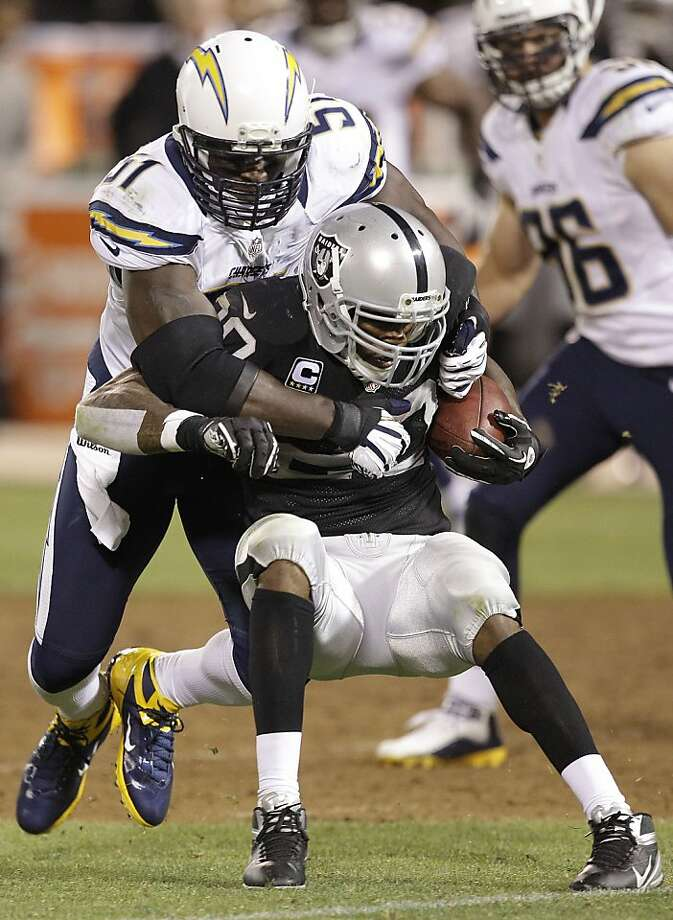 Darren McFadden struggled in this game against the Chargers - and in Miami. Photo: Ben Margot, Associated Press