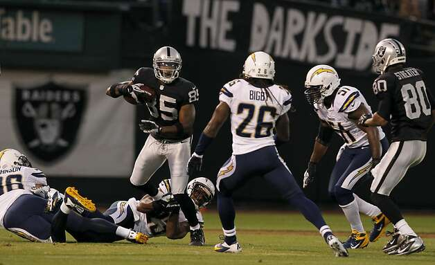 Darrius Heyward-Bey looks for room to run in the first quarter of the Oakland Raiders game against the San Diego Chargers in Oakland, Calif. on Monday, Sept. 10, 2012. Photo: Paul Chinn, The Chronicle