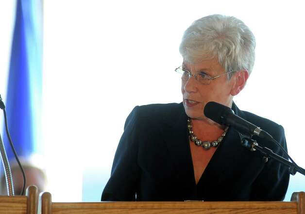 Lt. Governor Nancy Wyman speaks during ConnecticutâÄôs 11th Annual 9/11 Memorial Service Monday, September 10, 2012 at Sherwood Island State Park in Westport, Conn. Photo: Autumn Driscoll / Connecticut Post