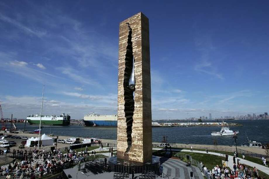 """BAYONNE, NJ - SEPTEMBER 11:  The memorial """"To the Struggle Against World Terrorism"""" is seen prior to its dedication at The Peninsula at Bayonne Harbor on September 11, 2006 in Bayonne, New Jersey.  A monument with a teardrop in steel was created by a Russian artist Zurab Tsereteli to honor victims of 9/11.  (Photo by Scott Gries/Getty Images) (Scott Gries / Getty Images)"""
