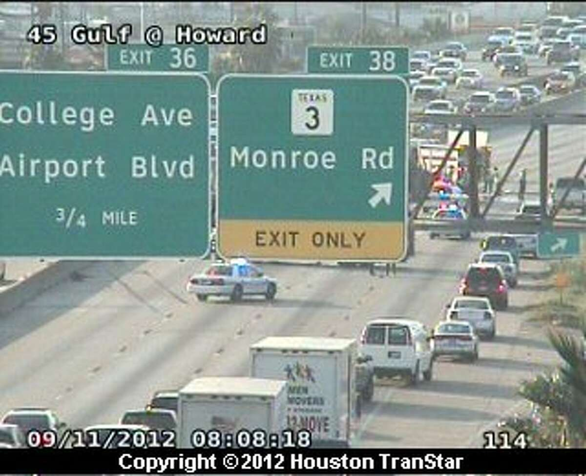 Traffic was snarled on southbound Gulf Freeway near Monroe after a crash during rush hour Tuesday morning.
