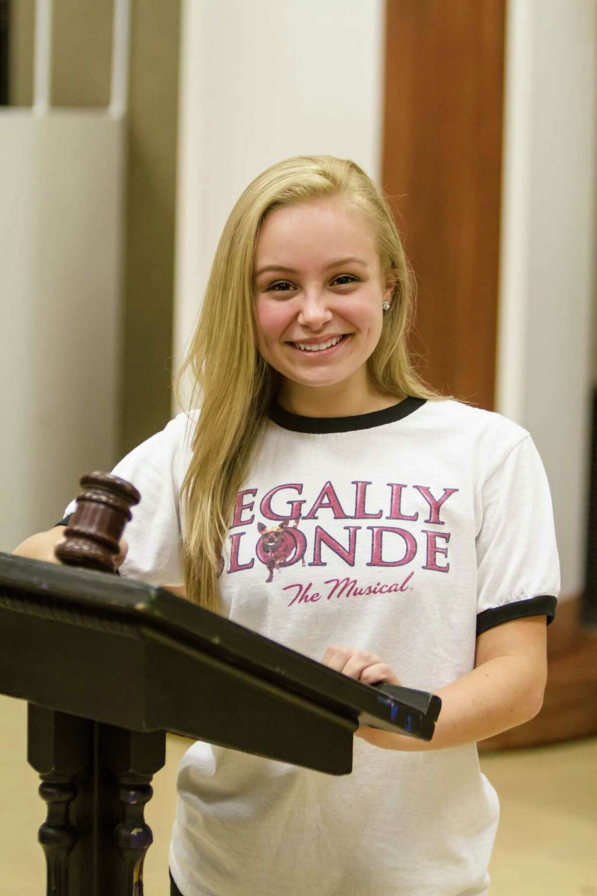 """Dawson High School senior Megan McGuff has the role of Elle in """"Legally Blonde the Musical."""" It's a role that her mother, Jill, says Megan has wanted to perform for years."""