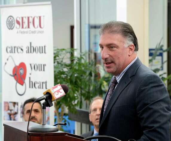 Michael J. Castelana, President and CEO of SEFCU speaks about his company's donation of $500,000to the St. Peter's Cornerstone Campaign at the Pepsi Bottling Plant in Latham, N.Y.  Sept 10, 2012.     (Skip Dickstein/Times Union) Photo: Skip Dickstein / 00019189A