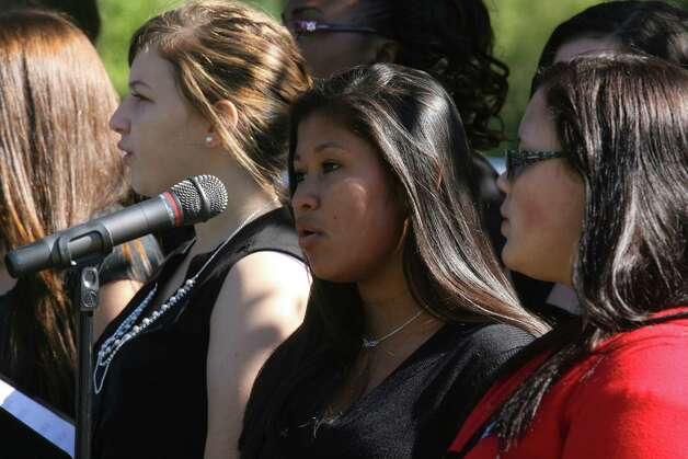Foran students sing during a 9/11 remembrance ceremony at Live Oaks School in Milford, Conn. on Monday. September 11, 2012. Photo: B.K. Angeletti / Connecticut Post freelance B.K. Angeletti