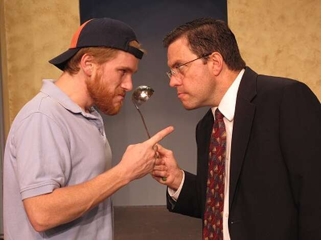 "Robert Bergeron (left) and Christopher Looney play mismatched roommates in the Circle Arts Theatre's ""The Odd Couple."" Photo: Courtesy, Circle Arts Theatre"