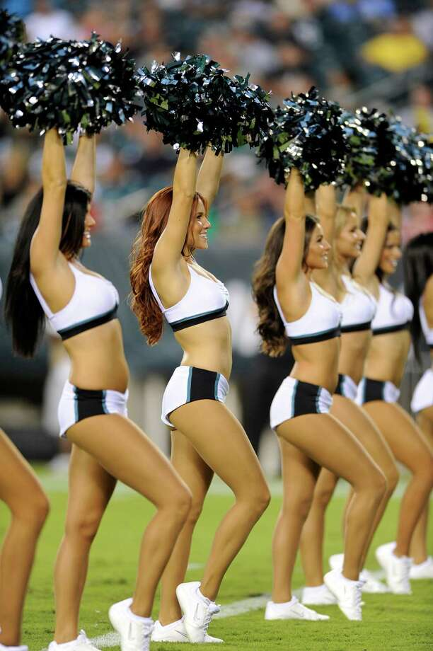 Philadelphia Eagles cheerleaders perform in the first half of a preseason NFL football game against the New York Jets, Thursday, Aug. 30, 2012, in Philadelphia. (AP Photo/Michael Perez) Photo: Michael Perez, Associated Press / FR168006 AP