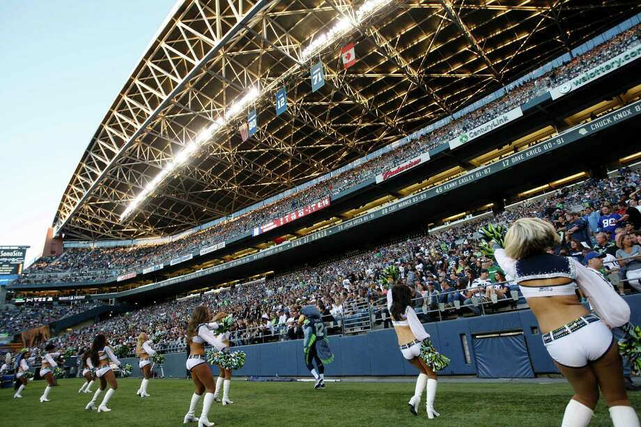 Seattle Seahawks cheerleaders perform in front of a hometown crowd during the first half of a preseason NFL football game against the Oakland Raiders Thursday, Aug. 30, 2012 in Seattle. (AP Photo/Kevin P. Casey) Photo: Kevin P. Casey, Associated Press / FR132181 AP