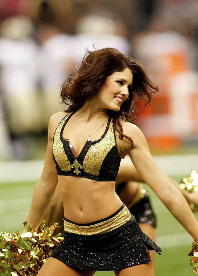 New Orleans Saints cheerleaders perform during an NFL football game against the Washington Redskins at the Mercedes-Benz Superdome in New Orleans, Sunday, Sept. 9, 2012.  (AP Photo/Bill Haber) Photo: Bill Haber, Associated Press / FR170136 AP
