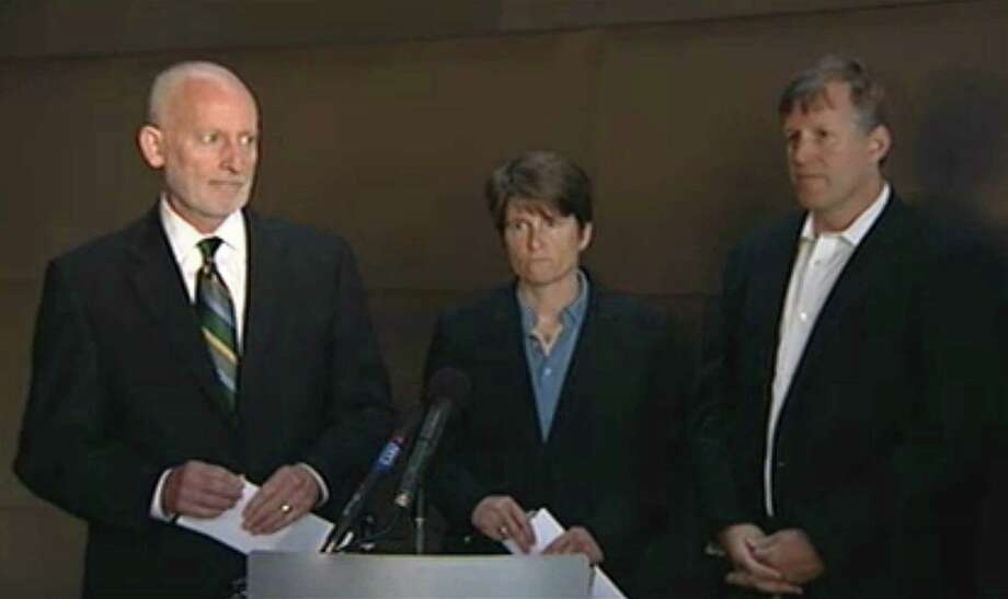 From left, Seattle City Councilmembers Tim Burgess, Sally Clark and Mike O'Brien address reporters during a press conference announcing an arena deal between investors and the City of Seattle that may bring back an NBA basketball team to Seattle. Photo: Seattle Channel / City of Seattle