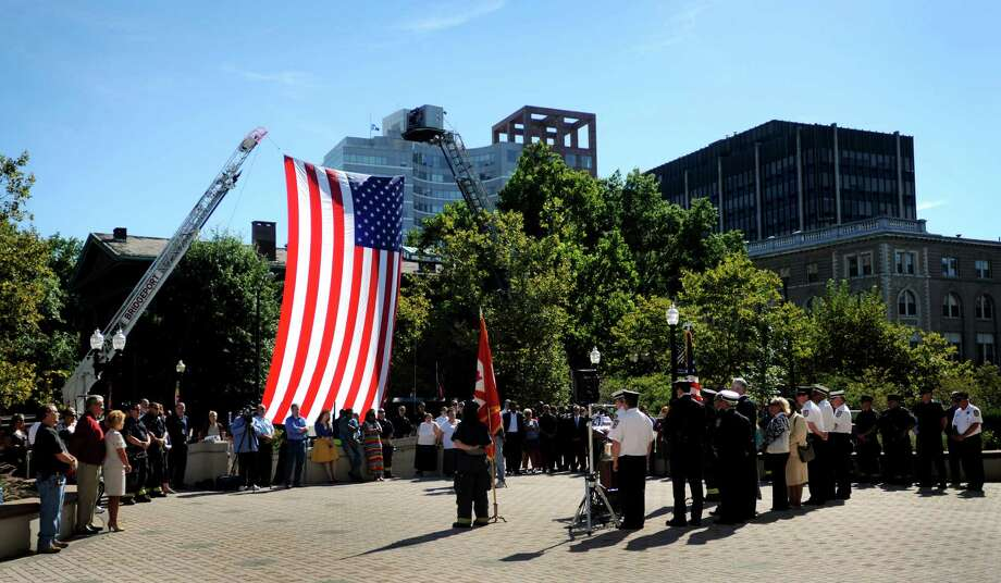 On Tuesday, Sept. 11, 2012, the city held a ceremony marking the 11th anniversary of the terrorist attacks on Sept. 11, 2001 with a brief speaking program at the Margaret E. Morton Government Center in Bridgeport, Conn. Photo: Cathy Zuraw / Connecticut Post