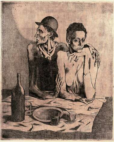 "Pablo Picasso's ""Le Repas Frugal (The Frugal Meal)"" is one of 15 works from the suite of prints known as ""Les Saltimbanques."" The McNay is showing its complete set of 15 prints."
