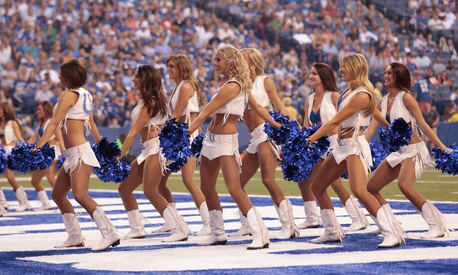 The Indianapolis Colts cheerleaders in the first half of an NFL preseason football game against the Cincinnati Bengals in Indianapolis, Thursday, Aug. 30, 2012. (AP Photo/AJ Mast) Photo: AJ Mast, Associated Press / FR123854 AP