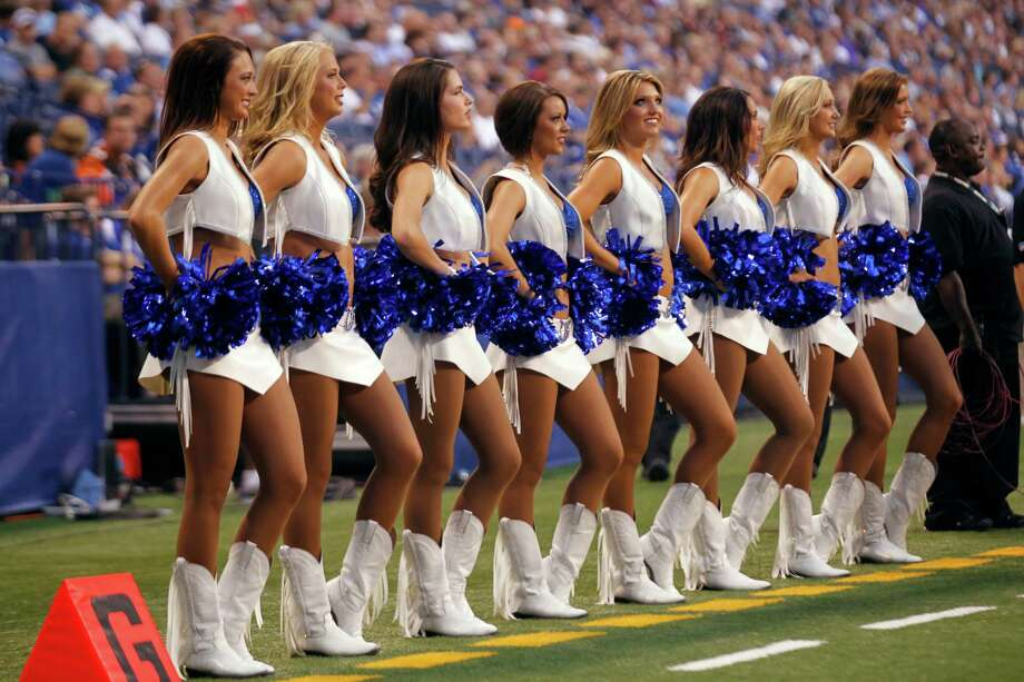 The Indianapolis Colts cheerleaders in the first half of an NFL preseason football game against the Cincinnati Bengals in Indianapolis, Thursday, Aug. 30, 2012. (AP Photo/John Sommers II) Photo: John Sommers II, Associated Press / FR64060 AP