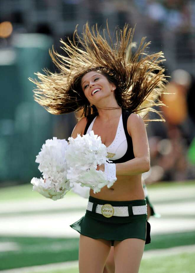 New York Jets cheerleader during the second half of an NFL football game between the New York Jets and the Buffalo Bills at MetLife Stadium Sunday, Sept. 9, 2012, in East Rutherford, N.J. (AP Photo/Mel Evans) Photo: Mel Evans, Associated Press / AP