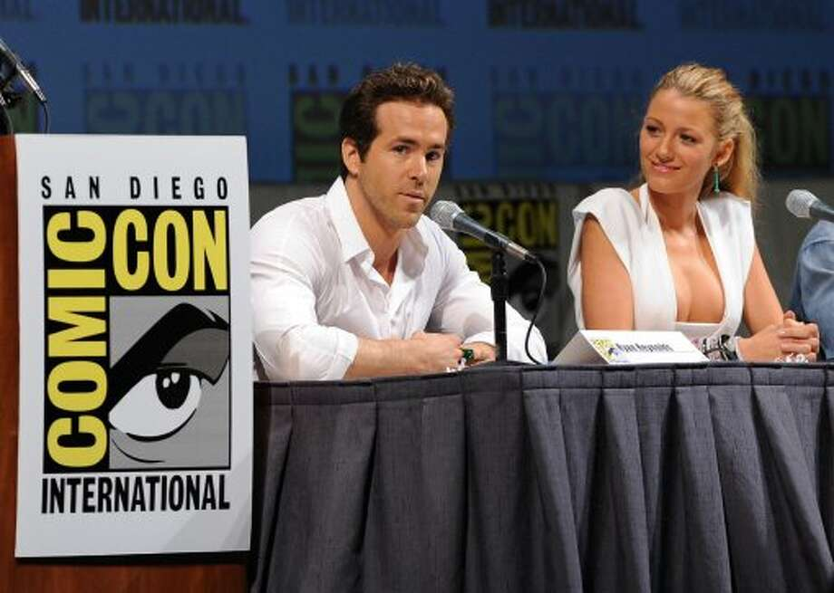 "Ryan Reynolds and Blake Lively speak onstage at the ""Green Lantern"" panel discussion during Comic-Con 2010 at San Diego Convention Center on July 24, 2010, in San Diego, Calif.  (Photo by Kevin Winter/Getty Images) (Kevin Winter / Getty Images)"