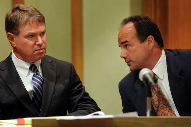 Former Bridgeport Mayor Joseph Ganim, right, and his attorney Harold Rosnick, in Superior Court, in Bridgeport, Conn. Sept. 11th, 2012. Ganim appeared in front of a three judge panel Tuesday in his effort to regain his law license. He was convicted in 2003 of federal corruption, and served seven years of a nine year sentence. Photo: Ned Gerard / Connecticut Post