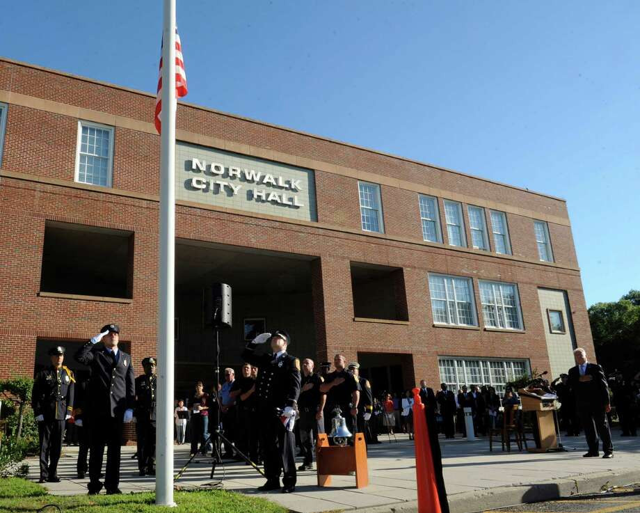 A 9/11 Remembrance Ceremony was held at Norwalk City Hall on Tuesday, Sept. 11, 2012. Photo: Helen Neafsey / Greenwich Time