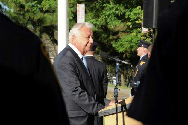 Nowark Mayor Richard A. Moccia speaks at the 9/11 Remembrance Ceremony at Norwalk City Hall on Tuesday, Sept. 11, 2012. Photo: Helen Neafsey / Greenwich Time