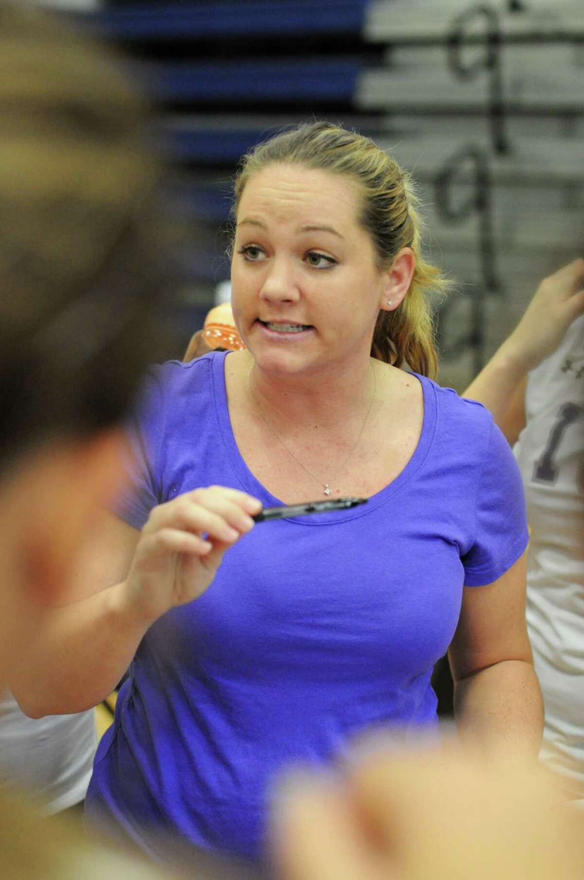 Ridge Point volleyball coach Tina McCorkle on 9-7-12 in a District 22-4A volleyball opener at Tomball Memorial. Ridge Point defeated Tomball Memorial 25-22, 29-27, 22-25, 12-25, 15-10.