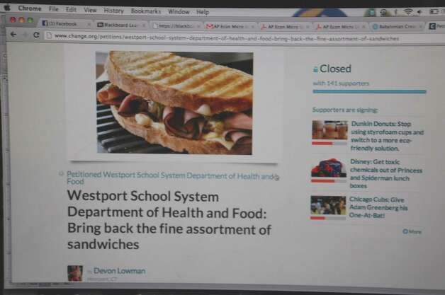A closeup of the online petition launched by Staples High School students calling for changes in the newly adopted dietary guidelines for sandwiches served for lunch at the school. Photo: John Schwing, Jarret Liotta / Westport News contributed