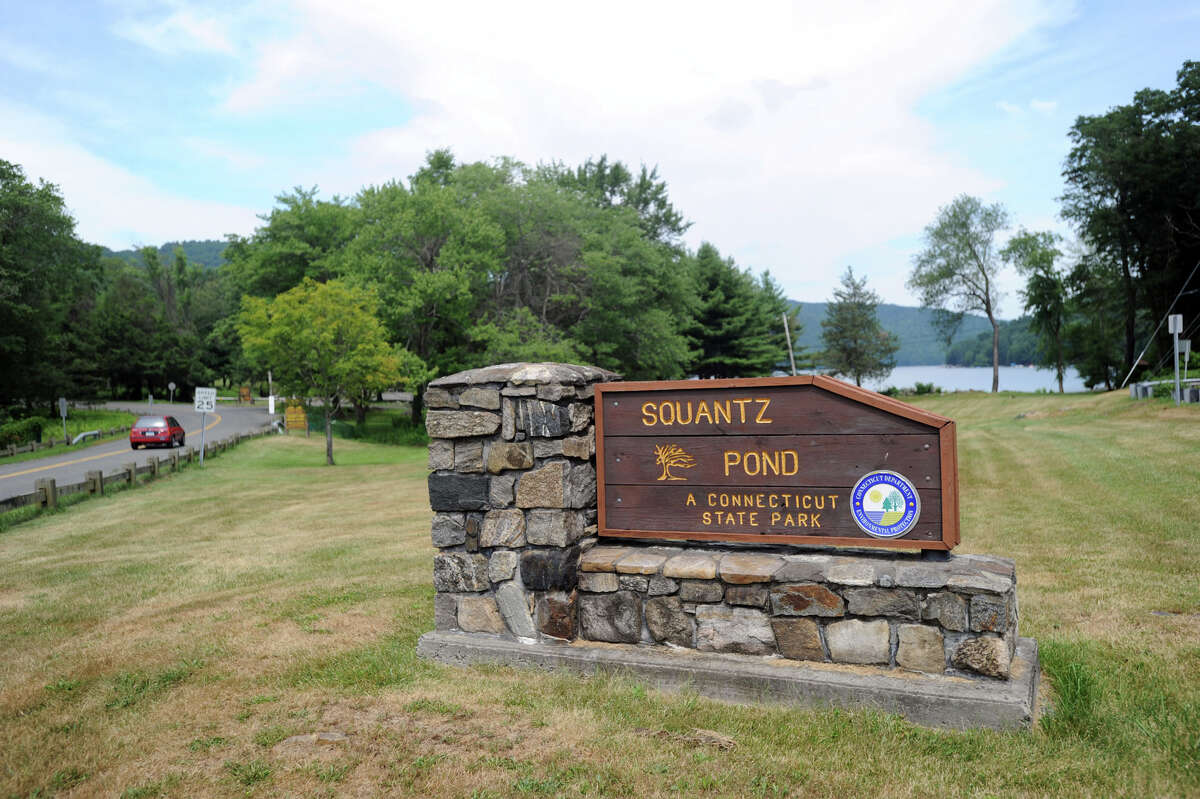 The entrance to Squantz Pond on Route 39 in New Fairfield.