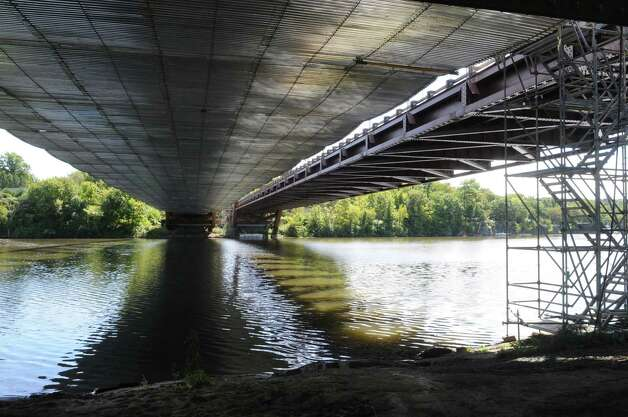 View from under the Thaddeus Kosciuszko Bridge in Halfmoon, N.Y., Tuesday Sep. 11, 2012.  Roadwork on the northbound side of the Twin Bridges is scheduled to be completeed this weekend. The southbound deck will be replaced in the spring. (Will Waldron / Times Union) Photo: Will Waldron