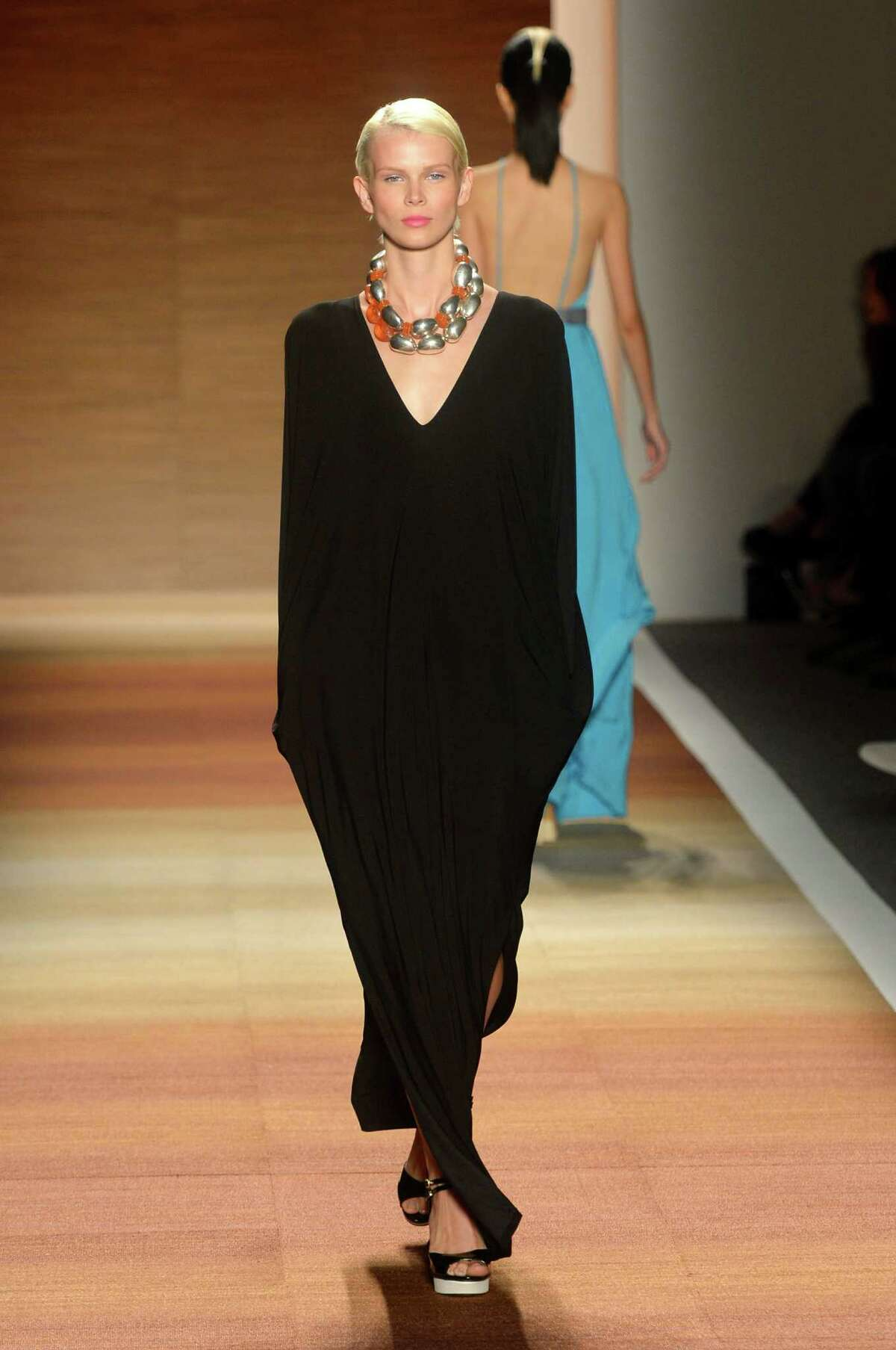 Galindo's spring collection included dresses in black, bright hues and prints.