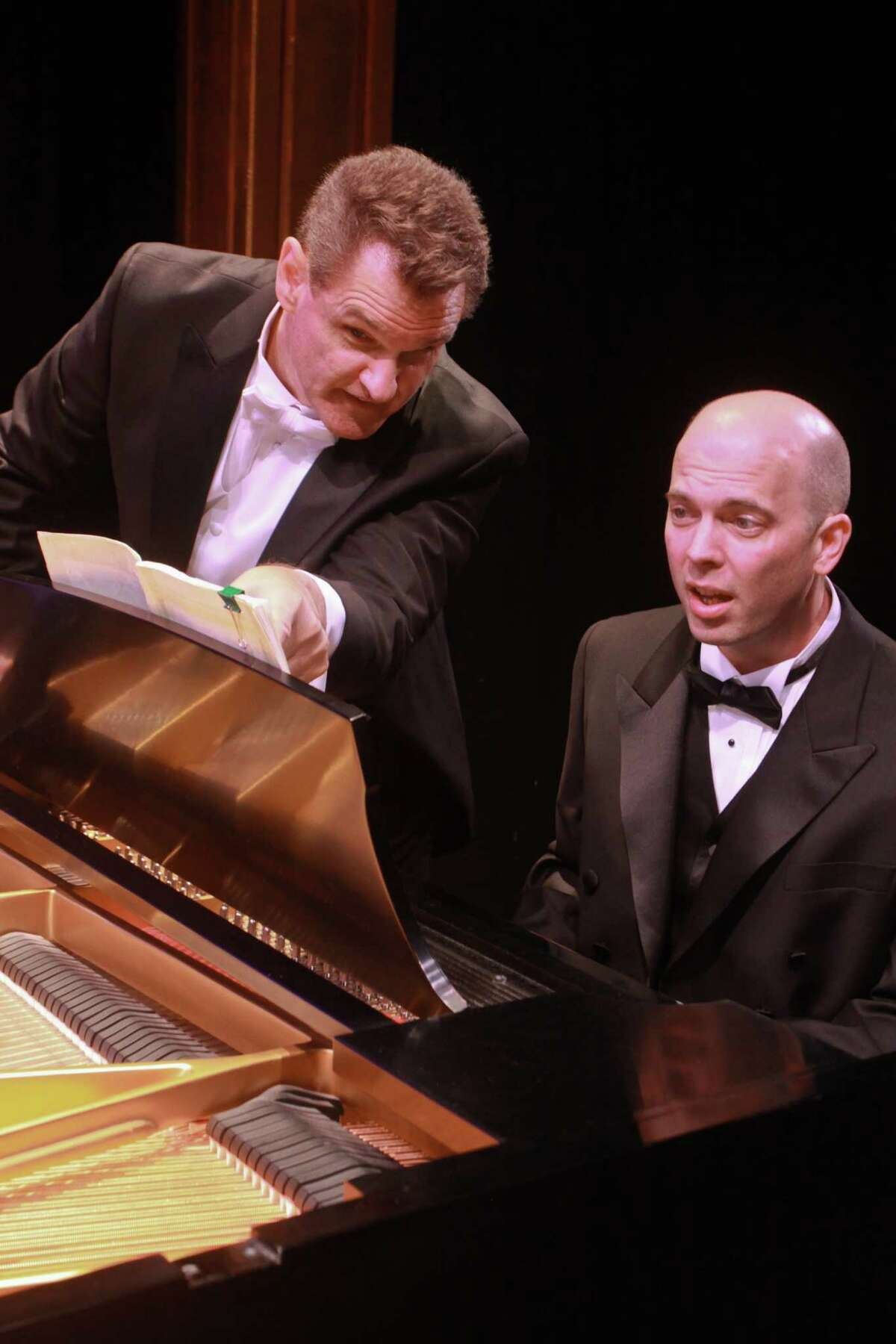 """(For the Chronicle/Gary Fountain, September 2, 2012) Jeffrey Rockwell as Richard, left, and Tom Frey as Ted, in this scene from Stages' production """"2 Pianos 4 Hands."""""""