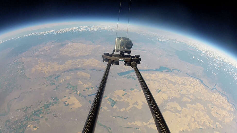 A Rhino Camera Gear Rhino Slider is shown during its ascent to 105,000 feet attached to a weather balloon. Photo: Rhino Camera Gear
