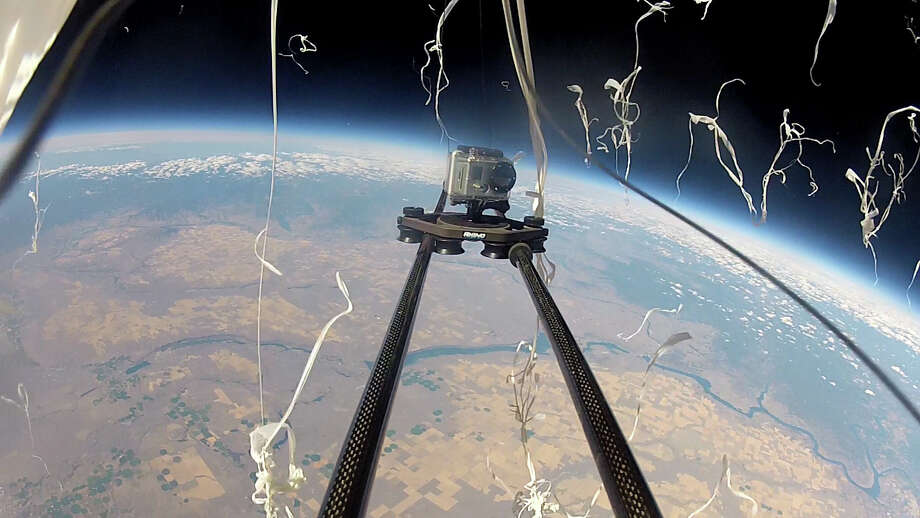 The weather balloon carrying a Rhino Camera Gear Rhino Slider aloft bursts at 105,000 feet. The Trump administration wants to eliminate weather balloons in the high atmosphere. Photo: Rhino Camera Gear