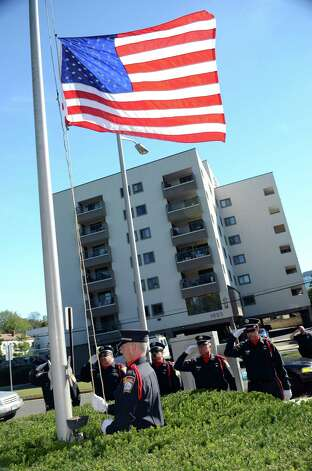 Stamford CT Fire Dept puts flags at half staff on 9/11/2012