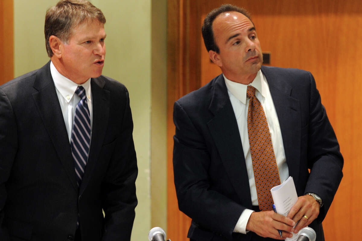 Former Bridgeport Mayor Joseph Ganim, right, and his attorney Harold Rosnick, in Superior Court, in Bridgeport, Conn. Sept. 11th, 2012. Ganim appeared in front of a three judge panel Tuesday in his effort to regain his law license. He was convicted in 2003 of federal corruption, and served seven years of a nine year sentence.