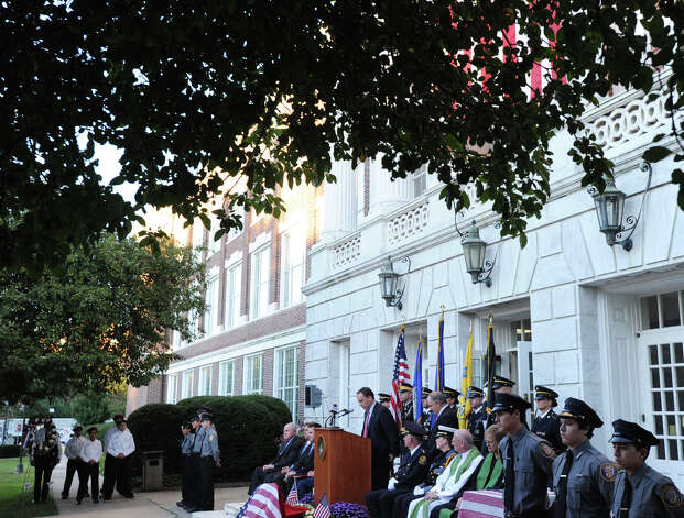 Greenwich First Selectman Peter Tesei speaks during the 9/11 remembrance ceremony at Greenwich Town Hall, Tuesday night, Sept. 11, 2012. Photo: Bob Luckey / Greenwich Time