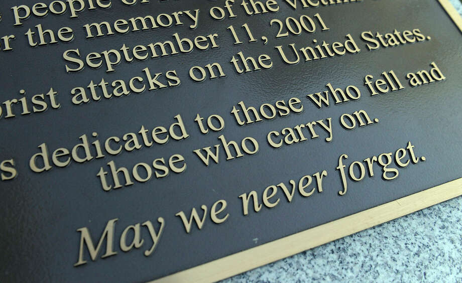 A plaque at the 9/11 memorial in Ridgefield remembers the events Sept. 11, 2001. Photo: Carol Kaliff / The News-Times