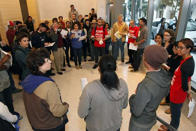 A group of students, faculty, employees and interested members of the community gather before a CCSF Board of Trustees meeting on Tuesday, Sept. 11, 2012 at the City College of San Francisco's chinatown campus. The board of trustees decided to ask the state for a special trustee to help them preserve their accreditation which many oppose. Photo: Alex Washburn, Special To The Chronicle