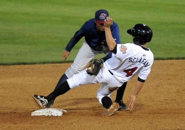 ValleyCats  Joe Sclafani successfully steals second during game one of the New York-Penn League final against Hudson Valley at Joe Bruno Stadium in Troy, NY Tuesday Sept. 11, 2012. (Michael P. Farrell/Times Union) Photo: Michael P. Farrell
