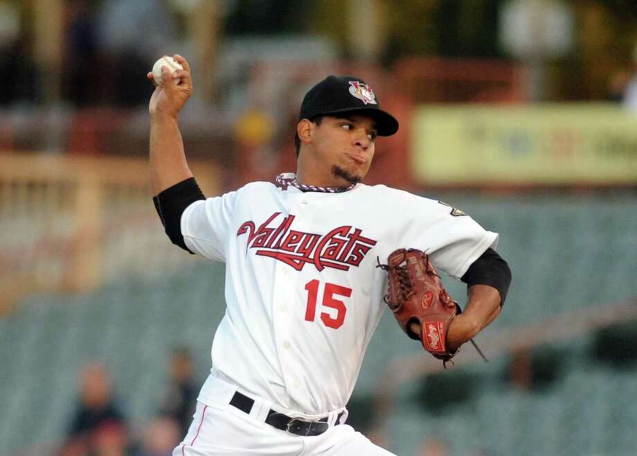 ValleyCats Juri Perez pitches during game one of the New York-Penn League final against Hudson Valley at Joe Bruno Stadium in Troy, NY Tuesday Sept. 11, 2012. (Michael P. Farrell/Times Union) Photo: Michael P. Farrell