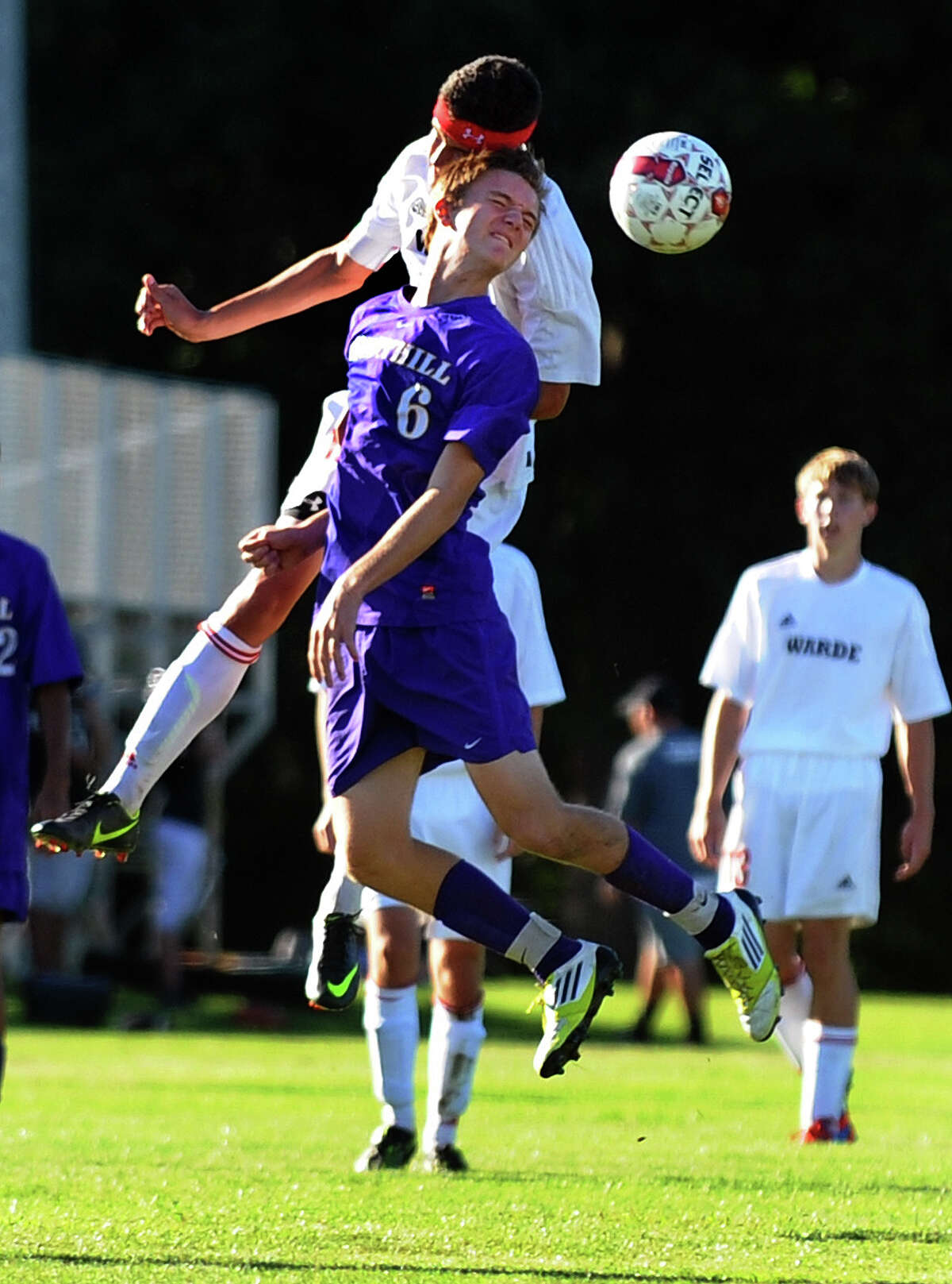 Boys soccer action between Fairfield Warde and Westhill in Fairfield, Conn. on Tuesday September 11, 2012.