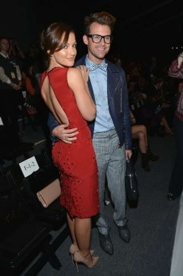 Minka Kelly (L) and Brad Goreski attend the Jenny Packham Runway show during the Spring 2013 Mercedes-Benz Fashion Week on Sept. 11, 2012.  (Mike Coppola / Getty Images)