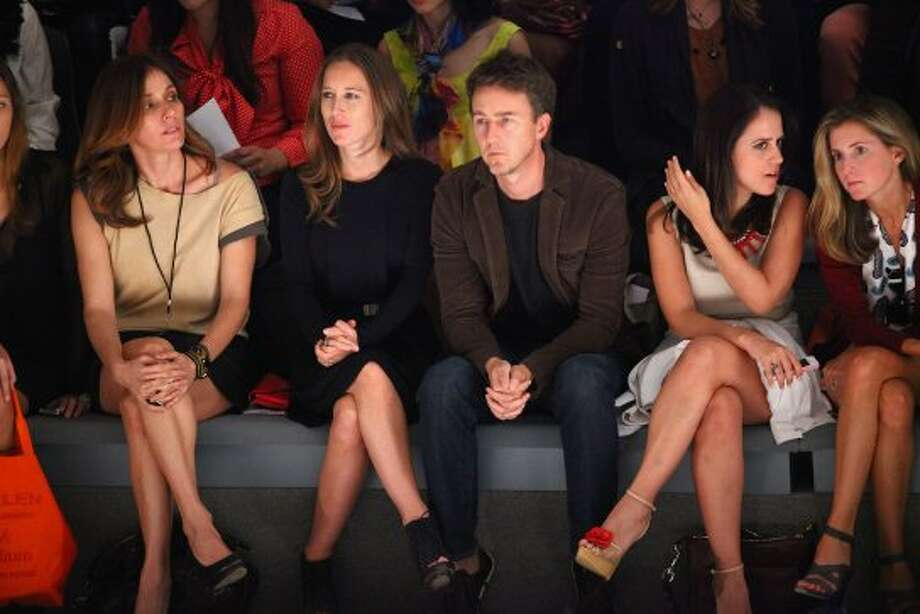 Edward Norton (C) attends the Osklen Spring 2013 show during Mercedes-Benz Fashion Week.  (Astrid Stawiarz / 2012 Getty Images)