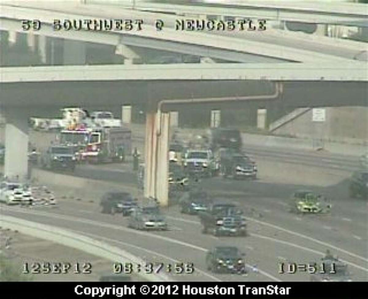 Traffic was snarled after a wreck on the northbound Southwest Freeway near Chimney Rock Wednesday morning.
